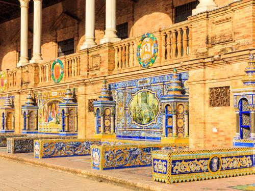 Seville, Spain. Tiled Walls Of Spanish Square (plaza De Espana)